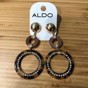 Aldo Gold Tortoiseshell Circle Drop Earrings